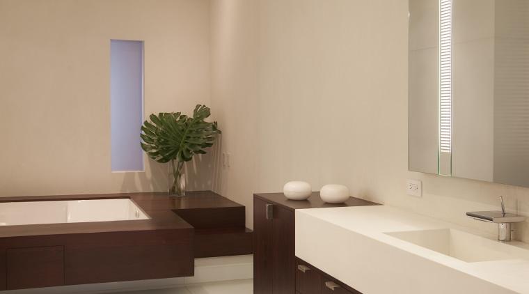 Bathroom with light toned walls and floor, wooden bathroom, ceiling, floor, interior design, room, sink, orange