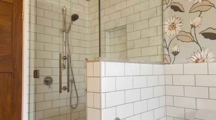Bathroom shower enclosure with white brick wall and bathroom, ceiling, floor, flooring, home, interior design, plumbing fixture, room, tile, wall, gray, orange