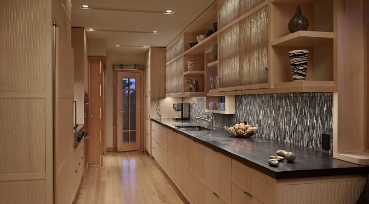 pale wooden floors and cabinetry, dark benchtops, tiled cabinetry, ceiling, countertop, cuisine classique, floor, flooring, hardwood, interior design, kitchen, real estate, room, wood, wood flooring, brown