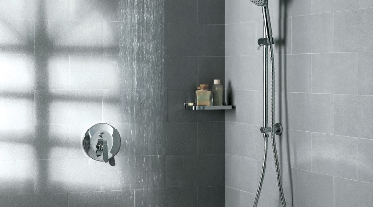 View of contemporary grey shower. angle, bathroom, floor, plumbing fixture, shower, tap, tile, wall, gray