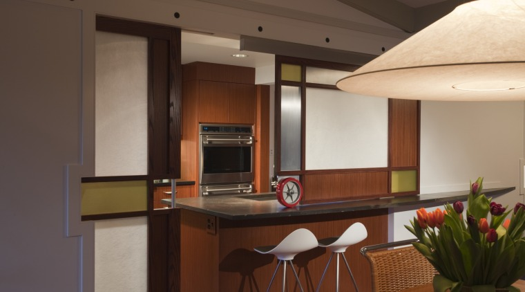 view of bar seating at island and wall interior design, kitchen, real estate, room, brown