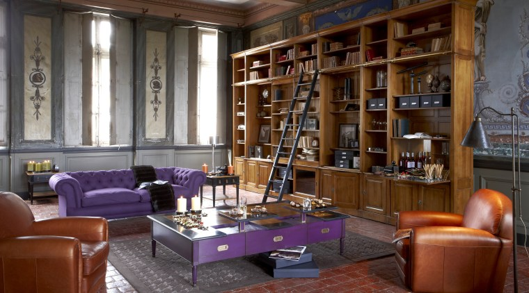 Library with purple and red furniture, wooden bookcase bookcase, furniture, interior design, library, living room, lobby, public library, shelving, brown