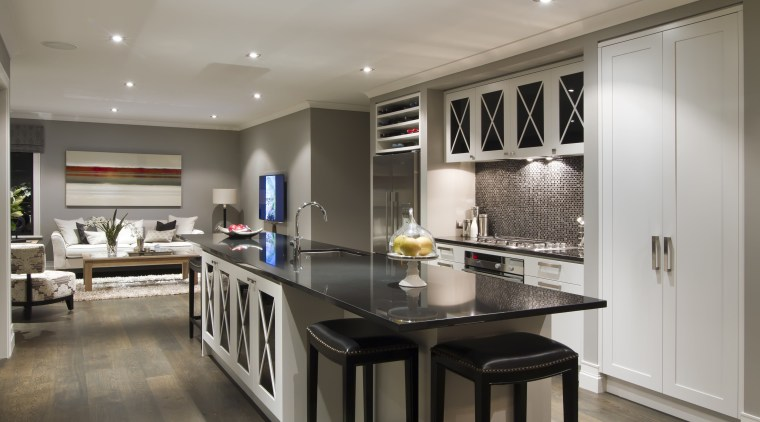 Kitchen with grey flooring, dark benchtop, back stools cabinetry, countertop, cuisine classique, interior design, kitchen, real estate, room, gray