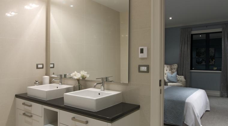 Ensuite with twin contemporary raised basins. bathroom, home, interior design, room, sink, gray