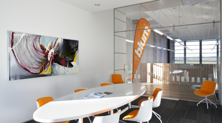 Boardroom with white table and orange seats. interior design, product design, table, white, gray