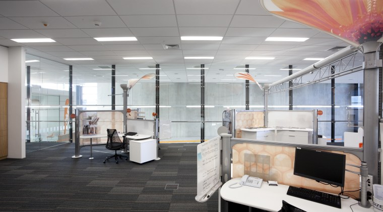 Offices with grey carpeting. ceiling, floor, interior design, office, gray