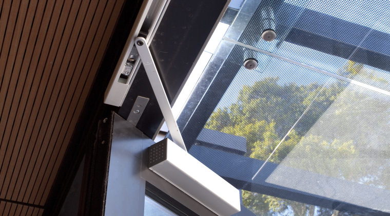 Close up of door opening system. architecture, building, daylighting, facade, glass, house, line, roof, structure, window