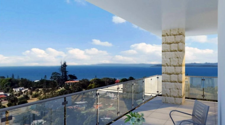 Balcony with view to sea. apartment, condominium, estate, home, penthouse apartment, property, real estate, roof, sea, sky, villa, gray
