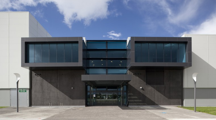 Exterior with dark grey cladding. architecture, building, commercial building, elevation, facade, house, real estate, gray
