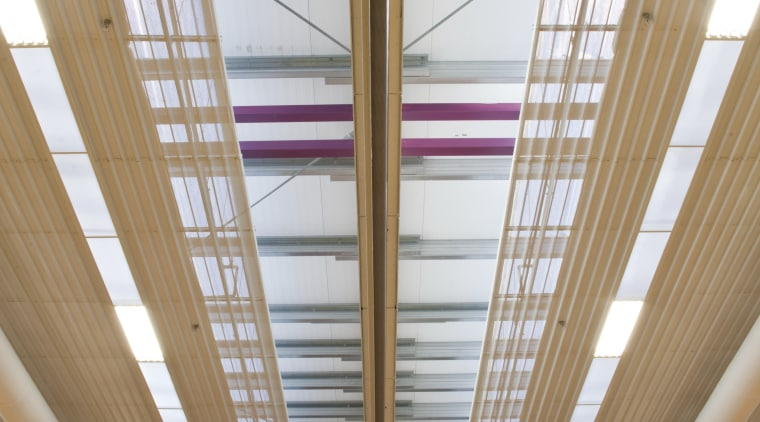 View of ceiling. architecture, beam, ceiling, daylighting, glass, interior design, line, roof, structure, window, wood, brown