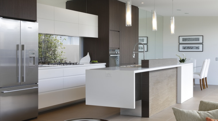 A simple palette of white and timber give cabinetry, countertop, cuisine classique, home appliance, interior design, interior designer, kitchen, product design, gray
