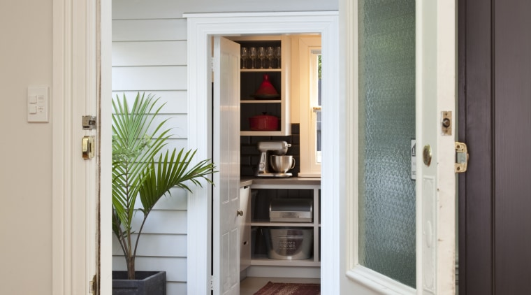 doorway leading to outside area and through to door, floor, home, house, interior design, window, wood, gray