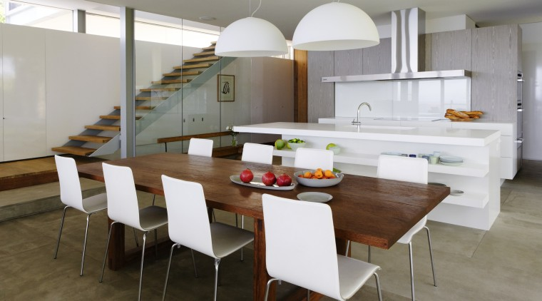 white lampshades overhead, white everything countertop, dining room, interior design, kitchen, table, gray, brown