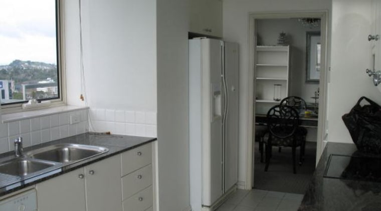 before image of kitchen with white walls and floor, home, kitchen, property, real estate, room, sink, gray