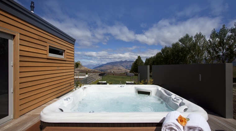 spa pool, exterior, wooden clad house, overlooking country estate, home, house, property, real estate, swimming pool, villa