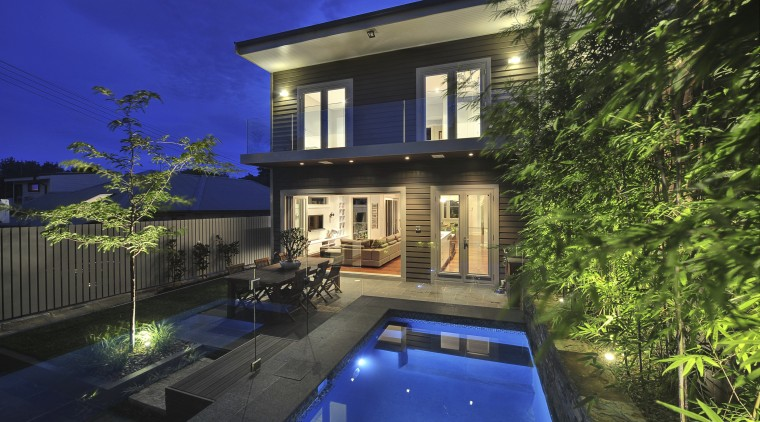 Backside of house with pool. apartment, architecture, backyard, cottage, courtyard, estate, facade, family car, home, house, landscape lighting, lighting, mansion, property, real estate, reflection, residential area, sky, swimming pool, villa, window, blue