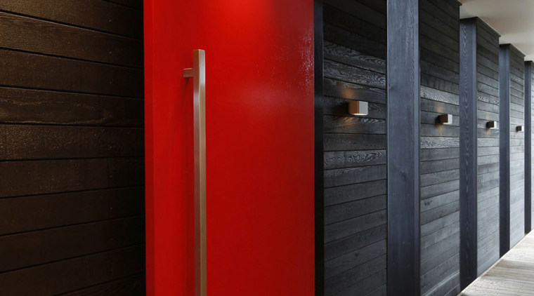 Exterior of townhouse painted in Resene colours, black architecture, ceiling, door, floor, flooring, interior design, wall, black, red