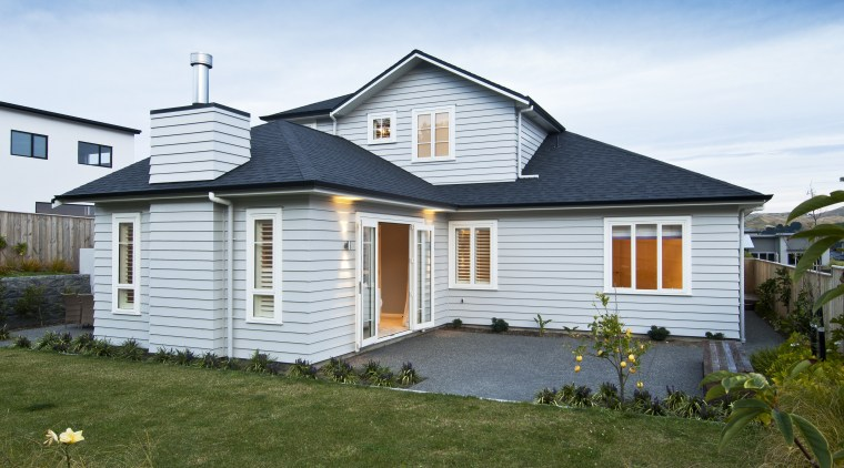 house exterior back cottage, elevation, estate, facade, farmhouse, home, house, property, real estate, residential area, roof, siding, window, white, brown