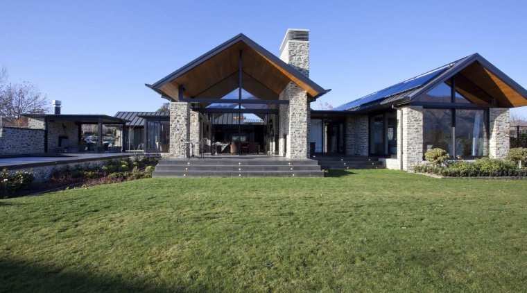 exterior of house with stone cladding, aluminium systems cottage, estate, facade, farmhouse, grass, home, house, land lot, landscape, mansion, property, real estate, residential area, sky, villa, teal