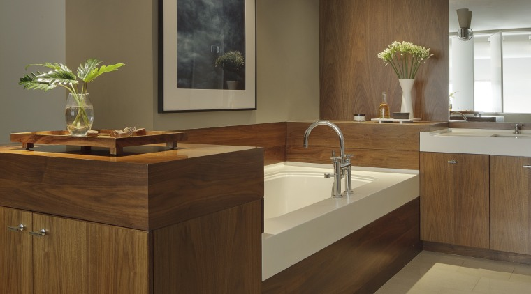 Bathroom in loft-style apartment designed by owner-architect David cabinetry, countertop, cuisine classique, floor, furniture, interior design, kitchen, sink, brown