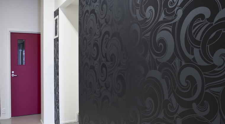white paint on wall, black patterned wallpaper or architecture, ceiling, design, floor, flooring, interior design, wall, wallpaper, black, white