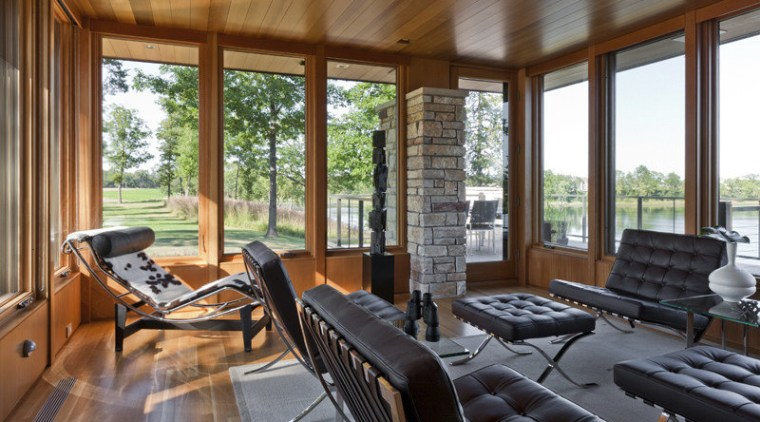 luxury leather furniture in open room, high windows, home, house, interior design, living room, outdoor structure, patio, porch, real estate, window, wood, brown