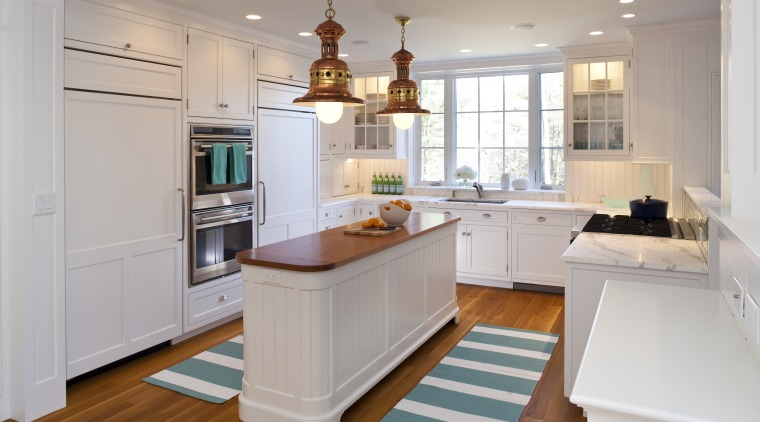 Here is a view of a kitchen that cabinetry, countertop, cuisine classique, floor, flooring, hardwood, home, interior design, kitchen, real estate, room, wood flooring, gray