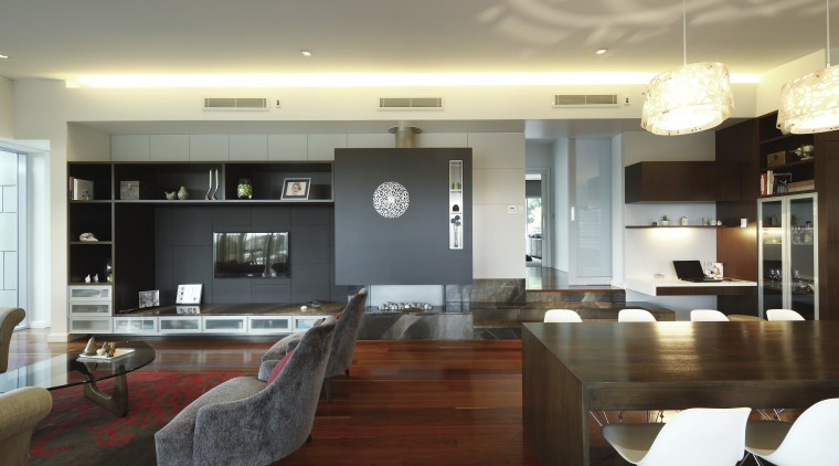 Wide shot of living area - dining room. ceiling, countertop, dining room, interior design, kitchen, living room, real estate, room