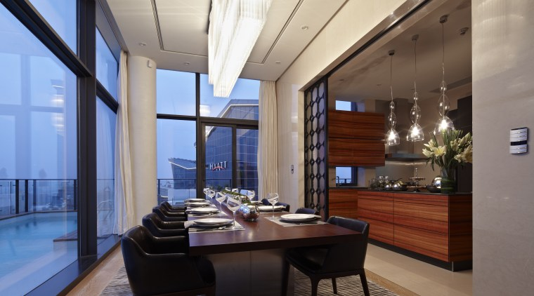 African wood with a distinctive grain was specified apartment, ceiling, dining room, interior design, penthouse apartment, real estate, gray