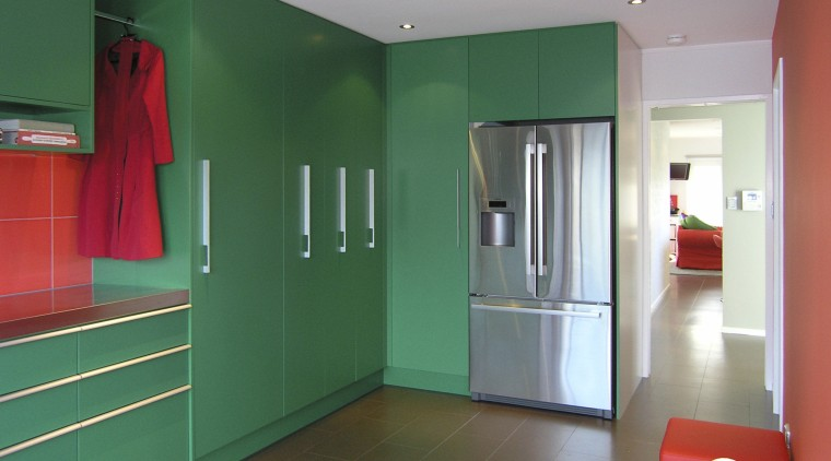 Green kitchen with Red. architecture, ceiling, door, floor, home, house, interior design, property, real estate, room, wall, teal, gray