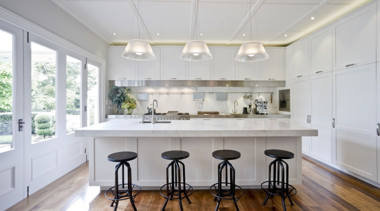 Positioning the island in this new kitchen at ceiling, countertop, daylighting, dining room, floor, flooring, interior design, kitchen, real estate, room, window, wood flooring, gray