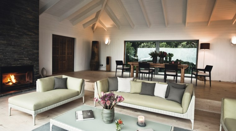 Seen here are chairs from Dedon's SeaX, Mu estate, interior design, living room, property, real estate, room, suite, gray