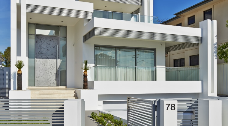 Contemporary family home by Starr Constructions architecture, building, elevation, estate, facade, home, house, neighbourhood, official residence, property, real estate, residential area, gray, blue