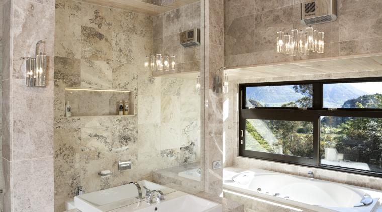 This bathroom was designed by Jalna Eve Design architecture, bathroom, estate, floor, home, interior design, room, tile, gray