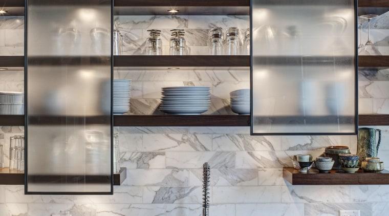 This layered kitchen by interior designer Allison Baskes cabinetry, countertop, glass, interior design, kitchen, shelf, shelving, gray