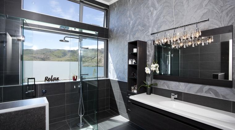 The flooring for this Otago home was chosen architecture, bathroom, interior design, property, room, black, gray