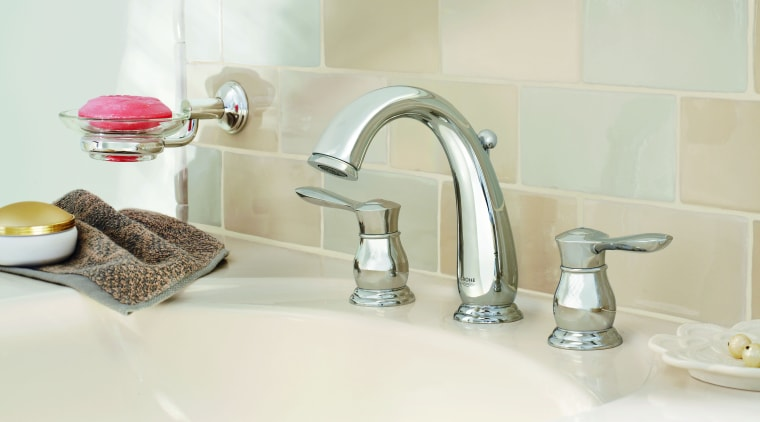 The Parkfield faucet is defined by its flowing bathroom, bathroom sink, ceramic, plumbing fixture, product design, room, sink, tap, white