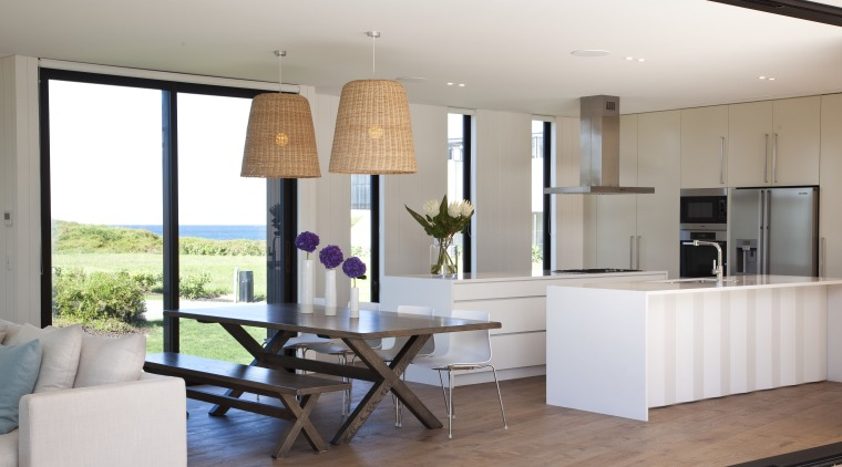 Ponting Fitzgerald-designed beach house house, interior design, kitchen, living room, real estate, table, white