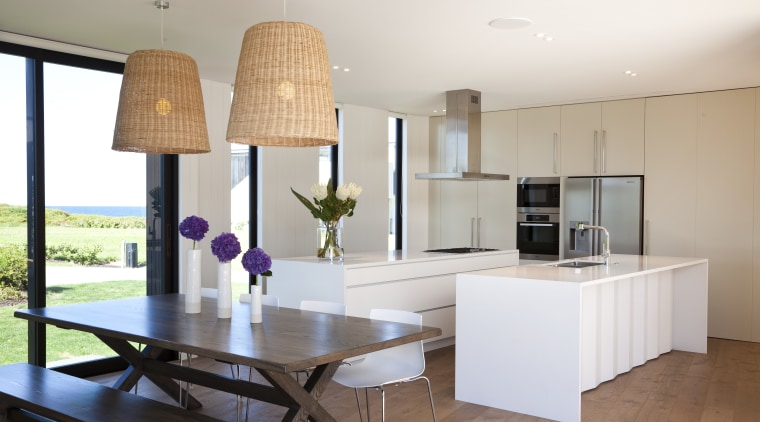 Ponting Fitzgerald-designed beach house architecture, countertop, interior design, kitchen, property, real estate, room, table, white