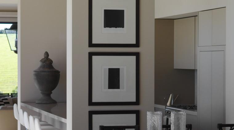Interior by designer Garth Barnett dining room, furniture, home, interior design, living room, room, table, gray, black