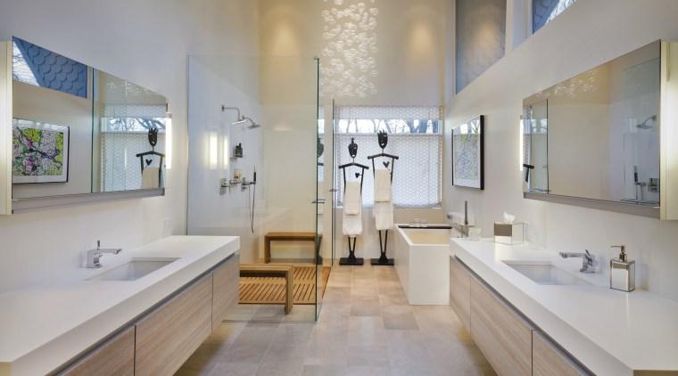 Decorative elements, including freestanding towel hangars and a bathroom, ceiling, estate, floor, home, interior design, property, real estate, room, sink, gray