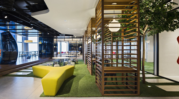 The Exchange @ DBS Asia Central fit-out, by interior design, lobby, real estate, brown, gray