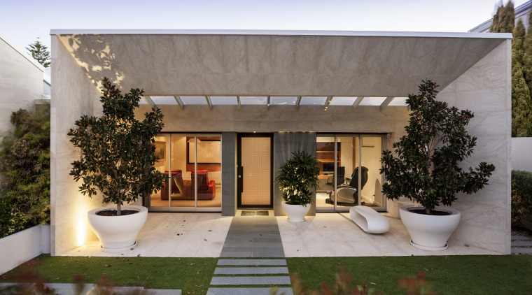 A new sandstone-clad form frames the entry to architecture, backyard, estate, facade, home, house, outdoor structure, property, real estate, residential area, roof, gray, brown