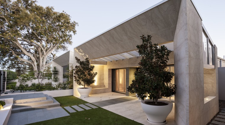A new sandstone-clad form frames the entry to architecture, building, estate, facade, home, house, property, real estate, residential area, villa, gray, brown