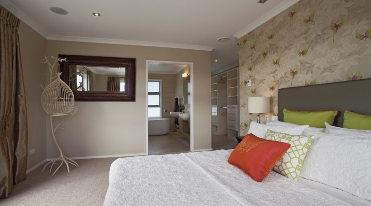 GJ Gardner Homes Lakes show home bedroom, ceiling, floor, home, interior design, property, real estate, room, wall, window, gray, brown