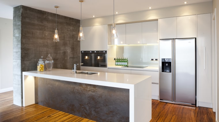 To ensure the home is well equipped for cabinetry, countertop, floor, flooring, hardwood, interior design, kitchen, real estate, room, wood flooring, gray