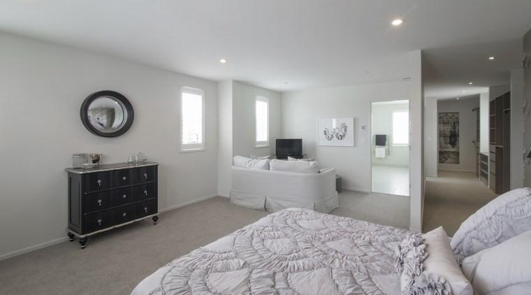 Landmark Homes show home at Karaka Lakes bedroom, ceiling, floor, home, interior design, property, real estate, room, gray