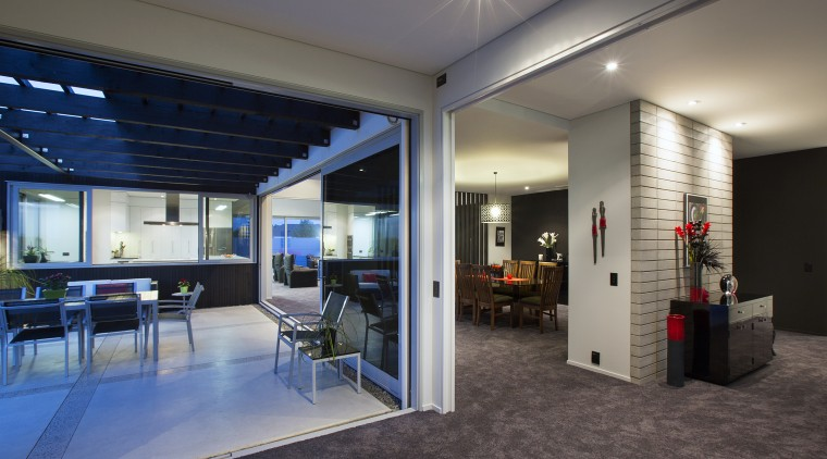 Contemporary home by Coast Papamoa ceiling, interior design, lobby, real estate, gray