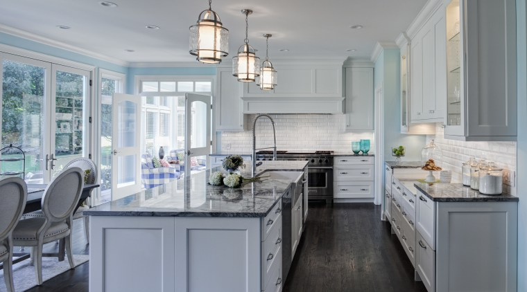 Designer Janice Teague CKD, CBD of Drury Design countertop, cuisine classique, home, interior design, kitchen, room, gray