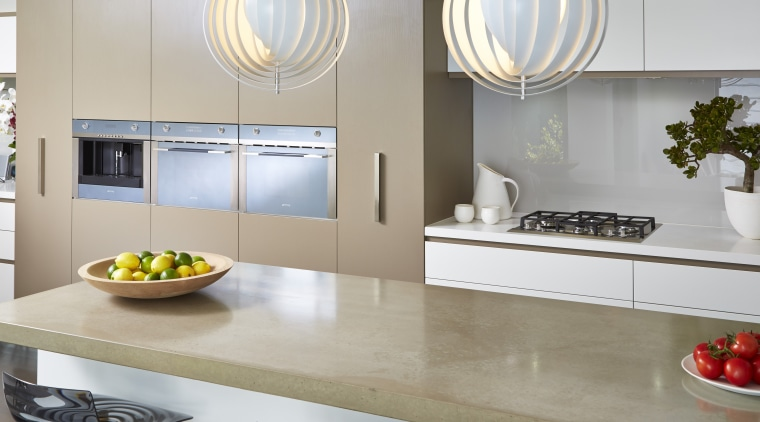 Cavanough also chose a Smeg induction cooktop for countertop, home appliance, interior design, kitchen, product design, gray, white
